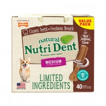 Nylabone Nutri Dent Limited Ingredient Dental Chews Filet Mignon Medium 40 count